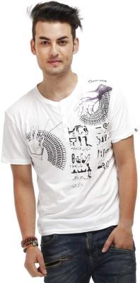 Chlorophile Printed Mens Henley White T-Shirt