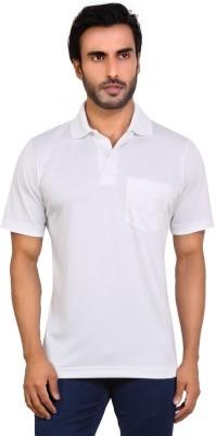 Valeta Printed, Solid Men's Polo Neck White T-Shirt