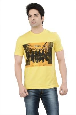 London Bridge Printed Men's Round Neck Yellow T-Shirt