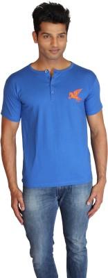 Right Shape Solid Men's Henley Blue T-Shirt
