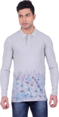 Black Sparrow Printed Men's Polo Neck Grey T-Shirt