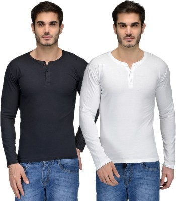 Feed Up Solid Men's Henley Black, White T-Shirt