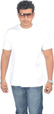 Woodside Solid Men's Round Neck White T-Shirt