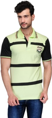 Ausy Solid Men's Polo Light Green, Black T-Shirt