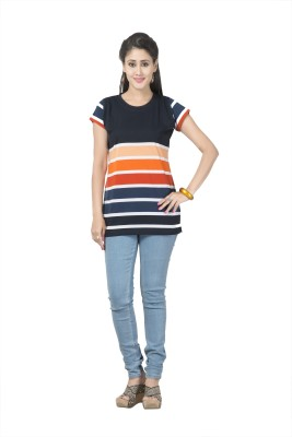 Prova Striped Women's Round Neck Orange T-Shirt