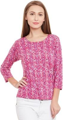Purys Printed Women,s Round Neck Pink T-Shirt