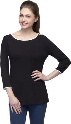 One Femme Solid Women's Boat Neck Black T-Shirt