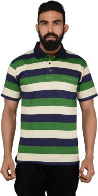 NeoGarments Striped Men's Polo Neck Multicolor T-Shirt