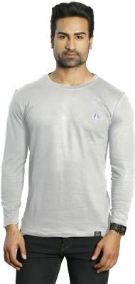 ALBITEN Solid Men's Round Neck Grey T-Shirt