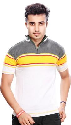 A33 Store Striped Men's Polo Neck White T-Shirt