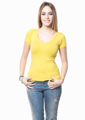 Westhreads Solid Women's V-neck Yellow T-Shirt