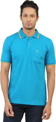 Menthol Solid, Embroidered Men's Polo Neck Blue T-Shirt