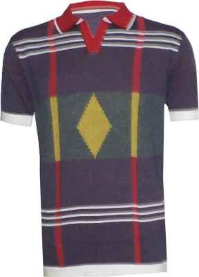 Tick Lish Striped Men's Polo Purple, Red, Yellow T-Shirt