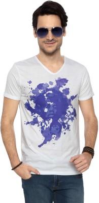 People Geometric Print Men's V-neck White T-Shirt