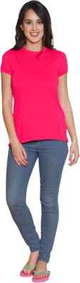 Sweet Dreams Solid Women's Round Neck Pink T-Shirt