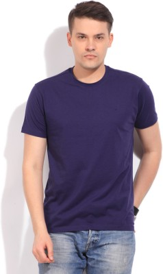 Global Nomad Solid Men's Round Neck Purple T-Shirt