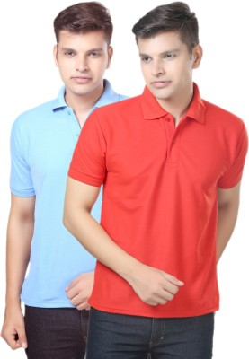 eSOUL Solid Men's Polo Neck Light Blue, Red T-Shirt