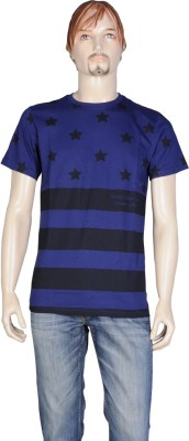 Point Sevan Printed Men's Round Neck Blue T-Shirt