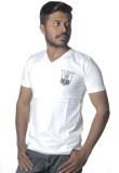 Poonam Solid Men's V-neck White T-Shirt