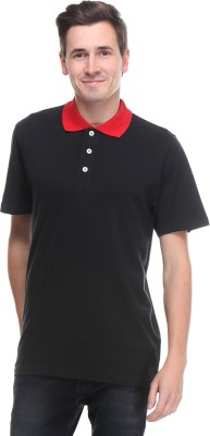 OPG Solid Men's Polo Neck Black T-Shirt