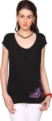 Bedazzle Printed Women's Round Neck Black T-Shirt at flipkart