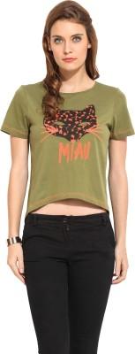 Rena Love Embroidered Women's Round Neck Green T-Shirt