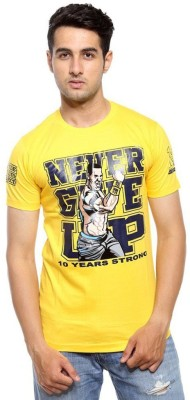 ILYK Printed Men's Round Neck Yellow T-Shirt