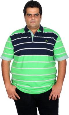 Xmex Striped Men's Polo Neck Light Green T-Shirt