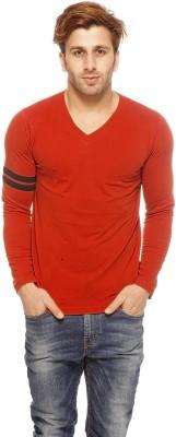 Gritstones Solid Men's V-neck Orange T-Shirt