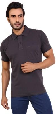 Awack Solid Men's Polo Neck Black T-Shirt