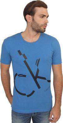 Calvin Klein Printed Men's Round Neck Blue T-Shirt