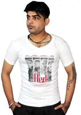 AS42 Solid Men's V-neck White T-Shirt