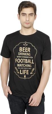 Funatic Sports Printed Men's Round Neck Black T-Shirt