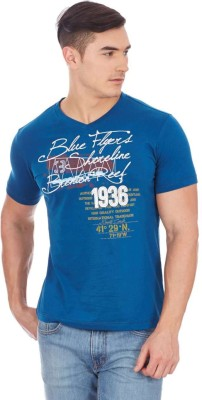 Monte Carlo Printed Men's V-neck Blue T-Shirt