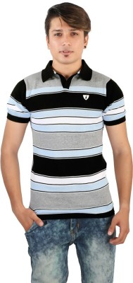 Igsmart Self Design Men's Polo Neck Multicolor T-Shirt
