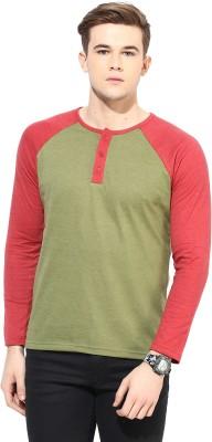 Yellow Submarine Solid Men,s Round Neck Light Green T-Shirt