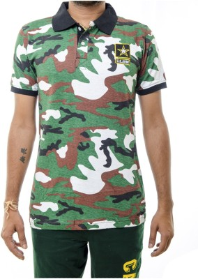 Shootr Military Camouflage Men's Polo Neck Green T-Shirt