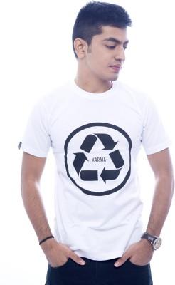Urban Flux Printed Men's Round Neck White T-Shirt