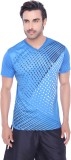 Valentine Solid Men's V-neck Blue T-Shir...