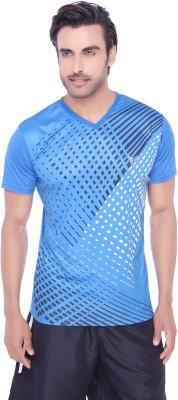 Valentine Solid Men's V-neck Blue T-Shirt