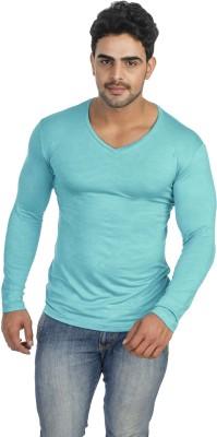 Male Basics Solid Men's V-neck Green T-Shirt