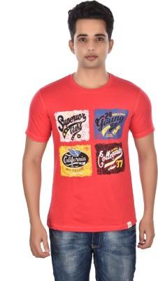 Rockstar Jeans Graphic Print Men's Round Neck Red T-Shirt