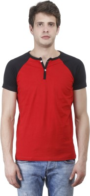Bonzer Fashion Solid Men's Henley Red, Black T-Shirt