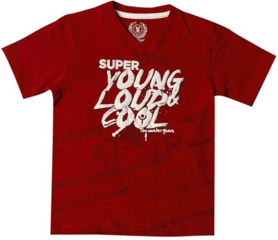 SuperYoung Printed Boy's V-neck Red T-Shirt