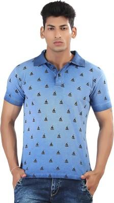 Afylish Printed Men's Polo Neck Blue T-Shirt