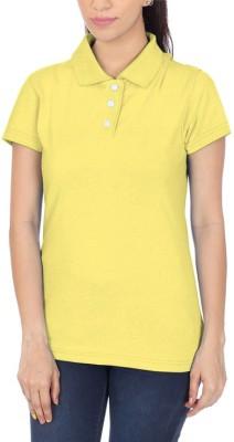 POLUO Solid Women's Polo Yellow T-Shirt