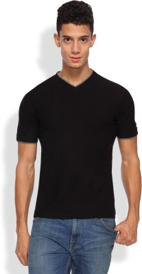 Arise Solid Men's V-neck Black T-Shirt