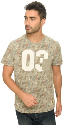 Be Pure Printed Men's Round Neck Grey T-Shirt