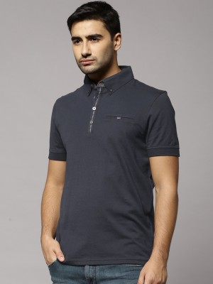 Marks & Spencer Solid Men's Polo Neck Dark Blue T-Shirt
