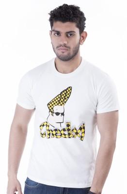CRAZYMONK Printed Men's Round Neck White T-Shirt